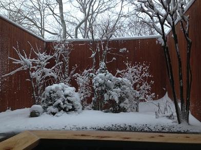 栃木 那須高原 ペンショントント 露天風呂 冬 雪 雪見露天